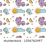 chicken and bird singing with... | Shutterstock .eps vector #1356762497