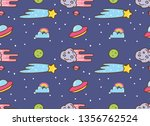 space background with ufo  star ... | Shutterstock .eps vector #1356762524