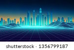 retro background futuristic... | Shutterstock .eps vector #1356799187