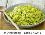 green tagliatelle with basil | Shutterstock . vector #1356871241