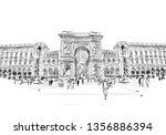 milan. italy. piazza del duomo. ... | Shutterstock .eps vector #1356886394