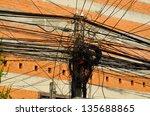 Wires Mess Vientiane Asia