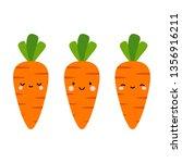 carrot cute face logo or icon... | Shutterstock .eps vector #1356916211