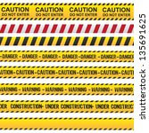 Caution and danger ribbon over white background vector illustration
