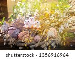 three easter chicks with happy... | Shutterstock . vector #1356916964