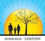 family silhouette over sun... | Shutterstock .eps vector #135692504