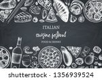 hand drawn pizza and pasta top... | Shutterstock .eps vector #1356939524