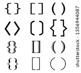 brackets set icon on white...
