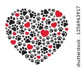 dog paw vector heart icon... | Shutterstock .eps vector #1356963917