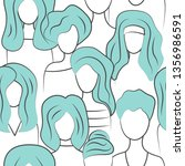 crowd of young women  seamless... | Shutterstock .eps vector #1356986591