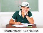 cheerful female middle school... | Shutterstock . vector #135700655