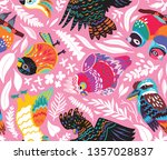 exotic seamless pattern with... | Shutterstock .eps vector #1357028837