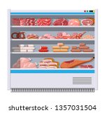 meat products in supermarket... | Shutterstock .eps vector #1357031504