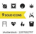 healthy icons set with fire ...