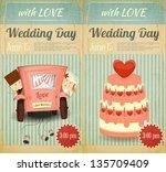 set of wedding invitation in... | Shutterstock .eps vector #135709409