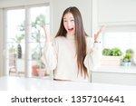 beautiful asian woman wearing... | Shutterstock . vector #1357104641