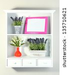 beautiful white shelves with... | Shutterstock . vector #135710621