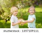 charming little children hunts... | Shutterstock . vector #1357109111