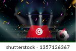 fans hold the flag of tunisia... | Shutterstock .eps vector #1357126367