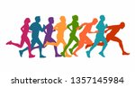 running marathon  people run  ... | Shutterstock .eps vector #1357145984
