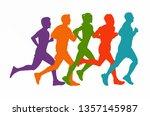 running marathon  people run  ... | Shutterstock .eps vector #1357145987