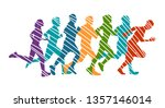 running marathon  people run  ... | Shutterstock .eps vector #1357146014
