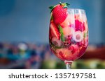glass with homemade srawberry... | Shutterstock . vector #1357197581