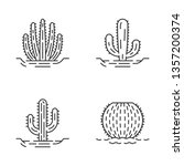 wild cacti in ground linear... | Shutterstock .eps vector #1357200374
