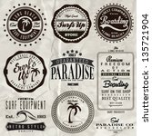vector retro surf label set. | Shutterstock .eps vector #135721904
