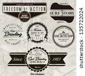 vector retro surf label set. | Shutterstock .eps vector #135722024