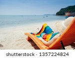 relax woman on  lounger  on ... | Shutterstock . vector #1357224824