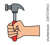hand with hammer tool   Shutterstock .eps vector #1357273511
