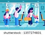 passengers inside the bus... | Shutterstock .eps vector #1357274831