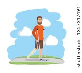 man in crutches character | Shutterstock .eps vector #1357317491