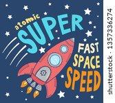 cartoon space rocket vector...   Shutterstock .eps vector #1357336274