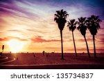 venice beach. sunset. summer... | Shutterstock . vector #135734837