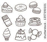 hand drawn sweets set | Shutterstock .eps vector #1357350101