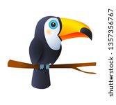toucan bird sitting on branch....   Shutterstock .eps vector #1357356767