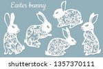 Stock vector laser cut easter bunny rabbit floral fancy hare with laser cut pattern for die cutting laser 1357370111