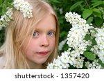 Little girl and Bird Cherry flowers - stock photo