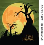 scary halloween background. eps ... | Shutterstock .eps vector #135742739