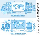 travel and tourism. world map ... | Shutterstock .eps vector #1357433657