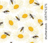 cute seamless pattern with bees ... | Shutterstock .eps vector #1357471271