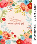 mothers day greeting card with... | Shutterstock .eps vector #1357535384