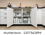 dishware storage cabinet with... | Shutterstock . vector #1357562894