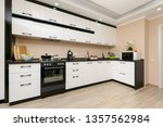 Stock photo modern spacioius black and white kitchen clean design 1357562984