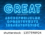 neon light alphabet  extra... | Shutterstock .eps vector #1357598924