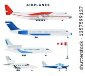 passenger and cargo airplane ... | Shutterstock .eps vector #1357599137