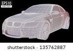 car wireframe   eps10 vector | Shutterstock .eps vector #135762887