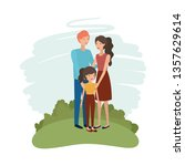 couple of parents with daughter ... | Shutterstock .eps vector #1357629614